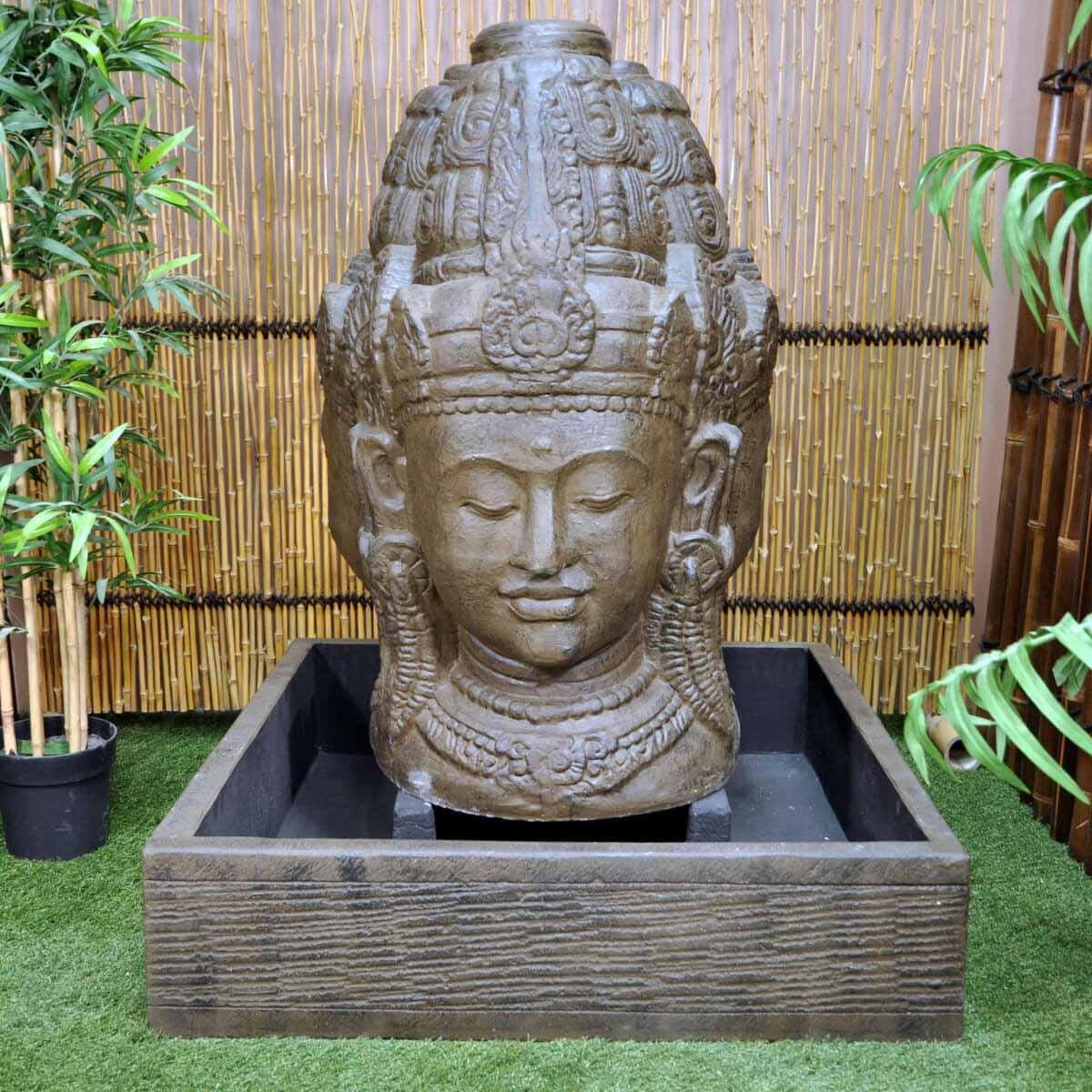Fontaine de jardin fontaine avec bassin visage de d esse dewi trimurti brun antique h 1 m 30 for Fontaine de jardin niagara