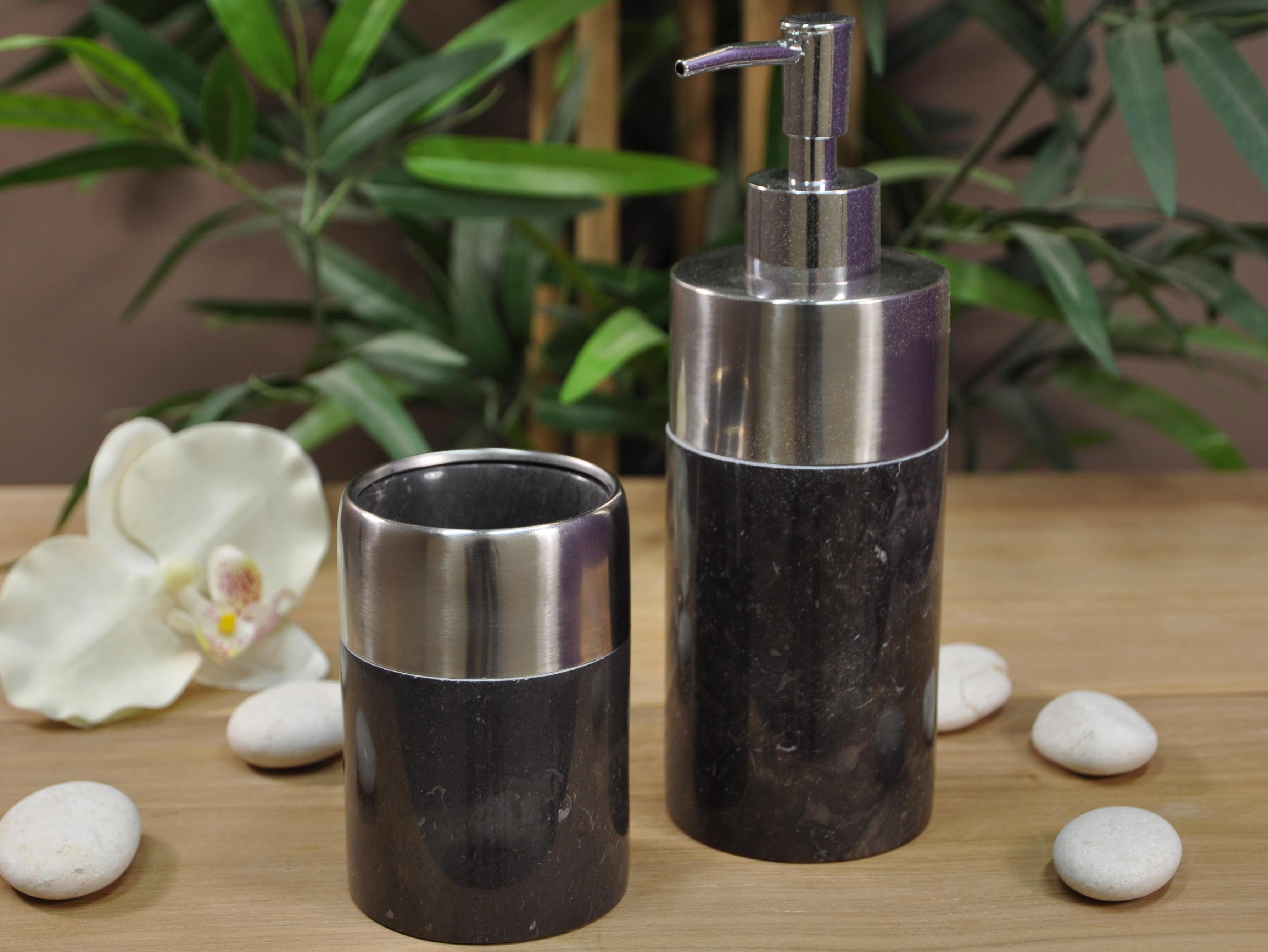 gobelet de salle de bain en marbre et inox noir d 7 cm. Black Bedroom Furniture Sets. Home Design Ideas