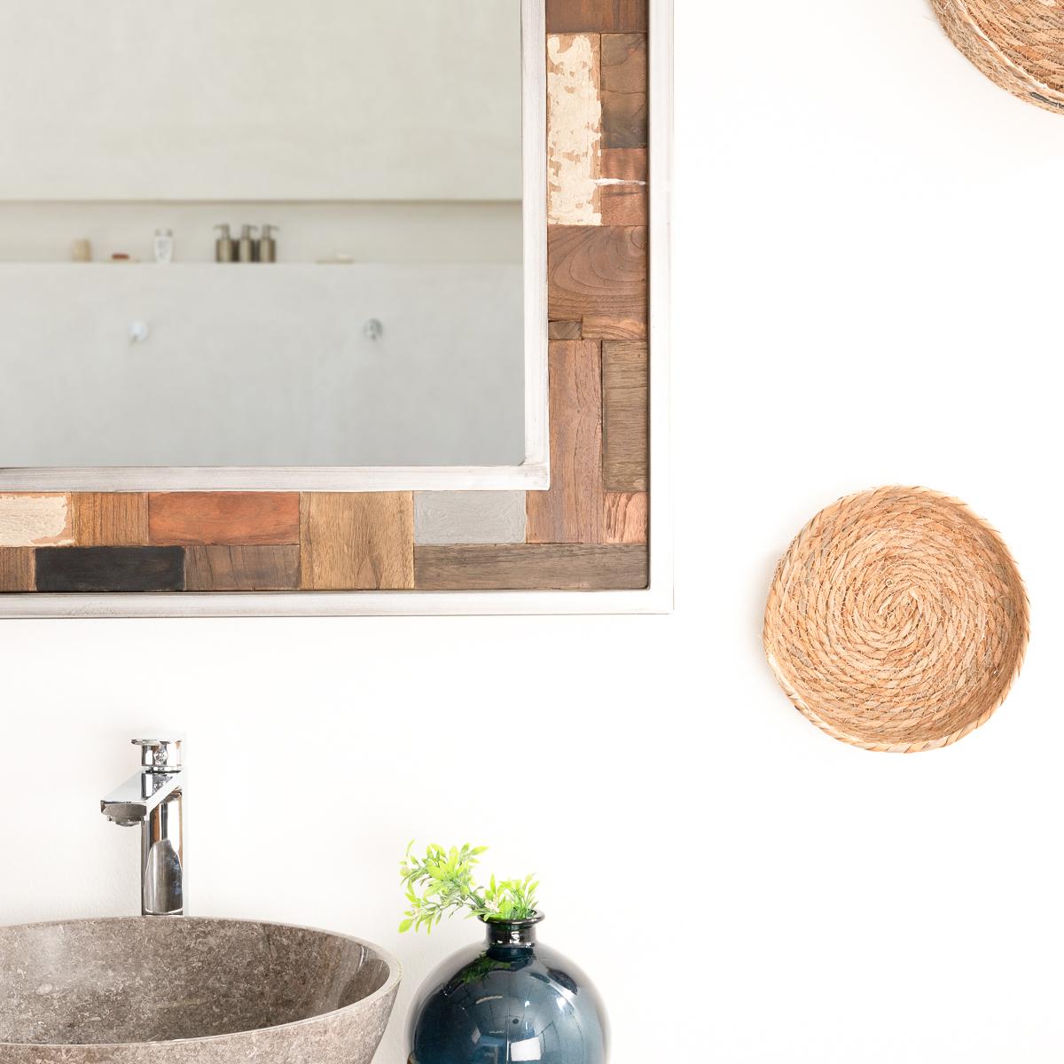 Miroir de d coration en bois teck massif et m tal for Miroir bois 50 x 70
