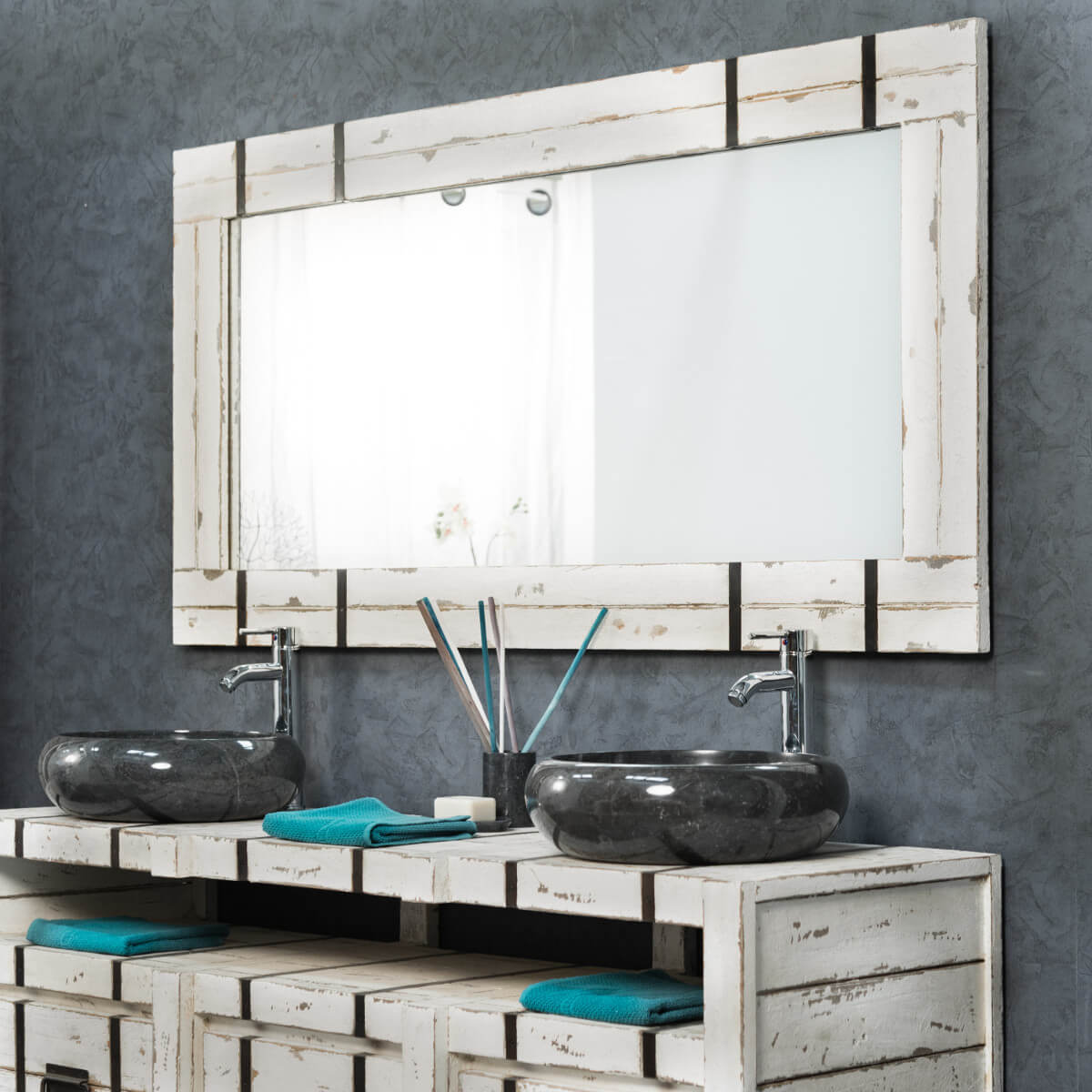 Grand miroir de salle de bain loft 160x80 for Grand miroir metal noir