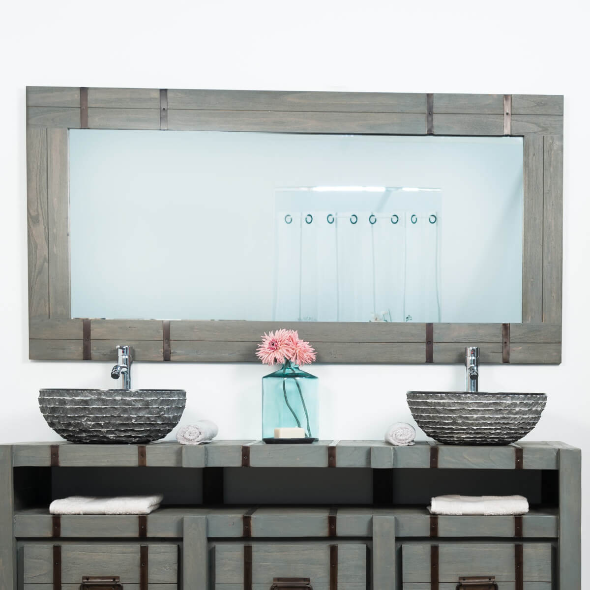 neuf grand miroir de salle de bain loft 160x80 gris ebay. Black Bedroom Furniture Sets. Home Design Ideas