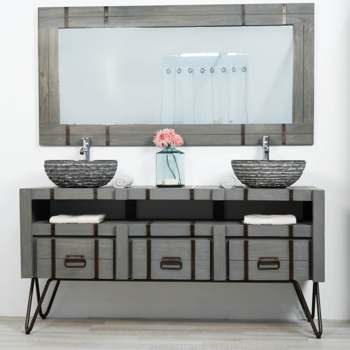 grand miroir de salle de bain loft 160x80 gris. Black Bedroom Furniture Sets. Home Design Ideas