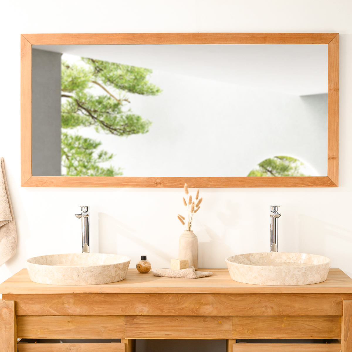 Grand miroir rectangle en teck massif 145x70 for Grand miroir salon