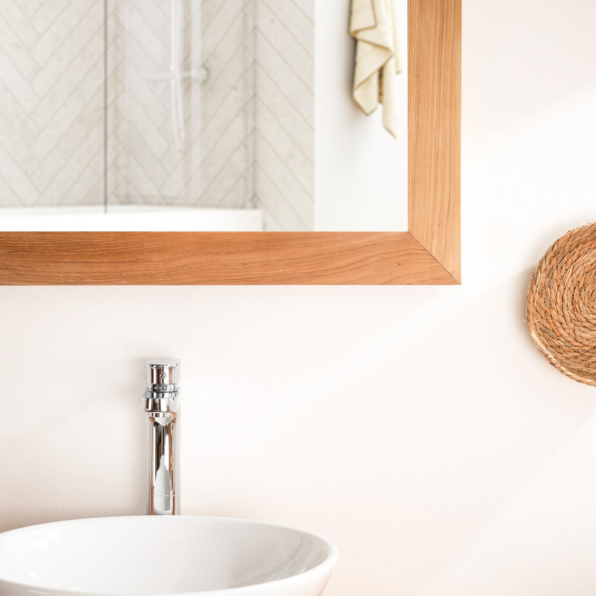 grand miroir rectangle en teck massif 160 x 70. Black Bedroom Furniture Sets. Home Design Ideas