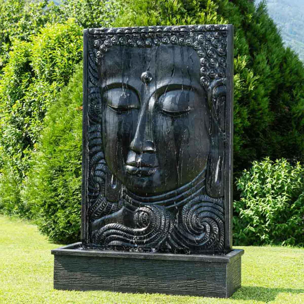 grande fontaine de jardin mur d 39 eau visage de bouddha 2m 10 noir brun. Black Bedroom Furniture Sets. Home Design Ideas