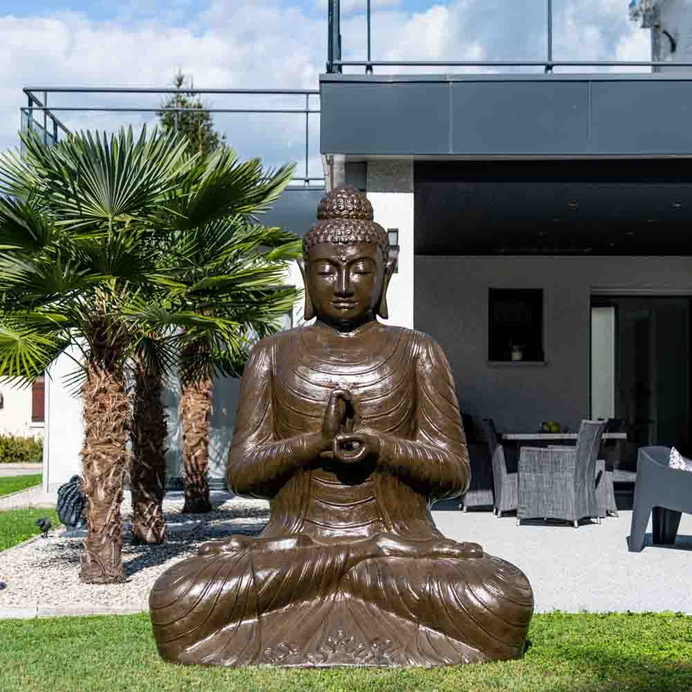 statue de bouddha assis en fibre de verre position. Black Bedroom Furniture Sets. Home Design Ideas