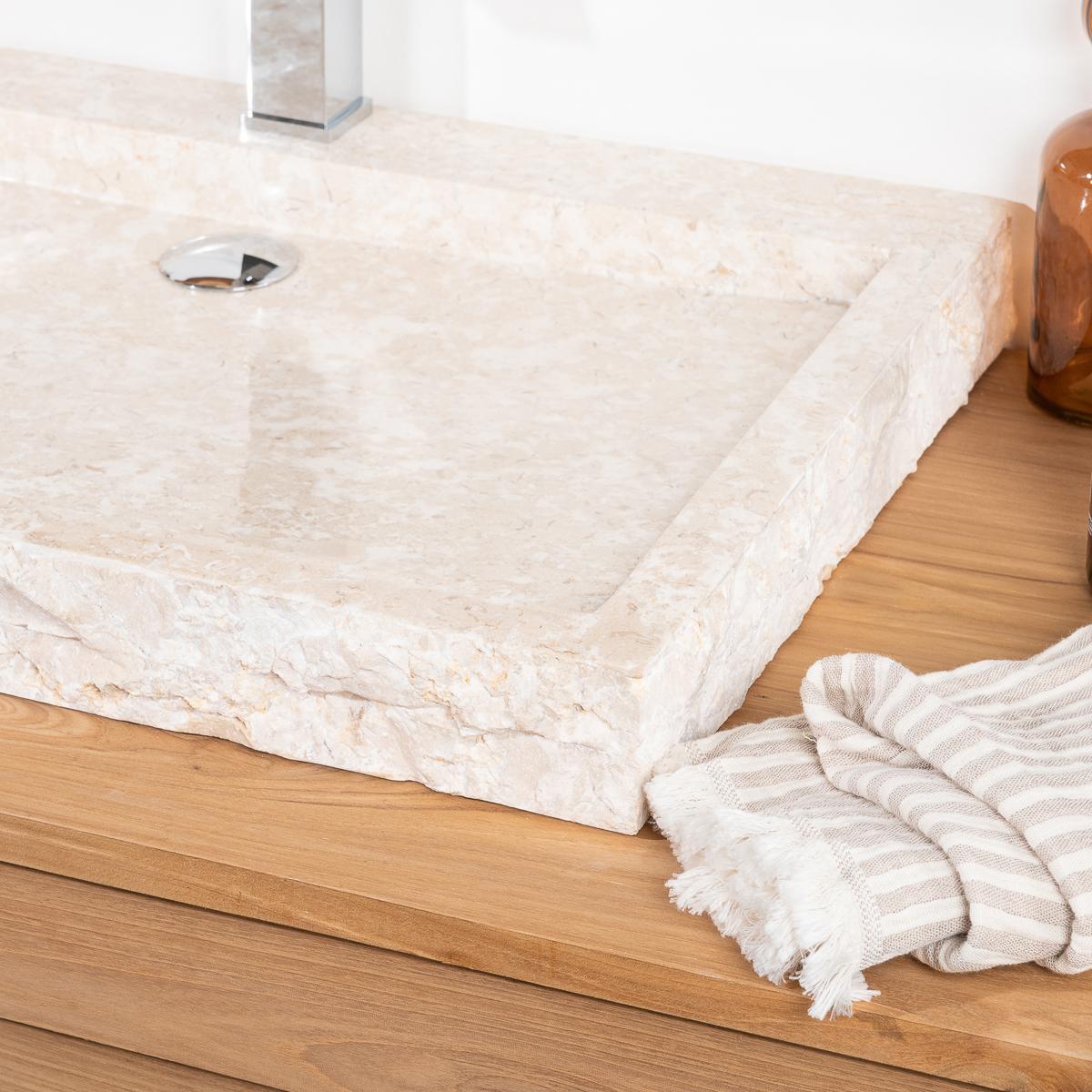Vasque poser en marbre cosy ronde cr me d 70 cm - Vasque a poser pas cher ...