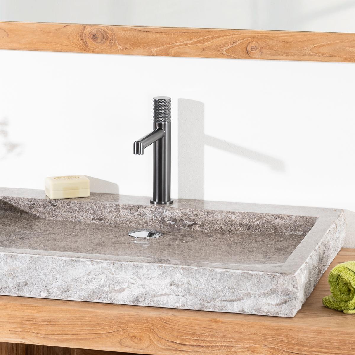 Vasque poser en marbre cosy ronde grise taupe d 70 cm for Vasque exterieur pierre