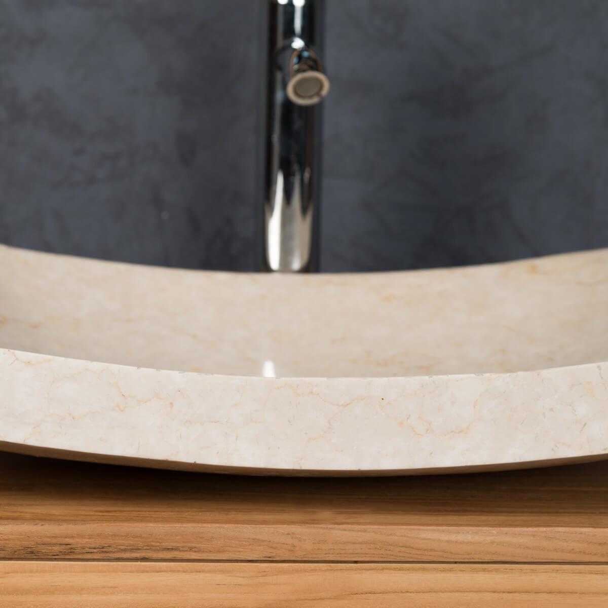 vasque poser en marbre g nes rectangle cr me l 50 cm. Black Bedroom Furniture Sets. Home Design Ideas