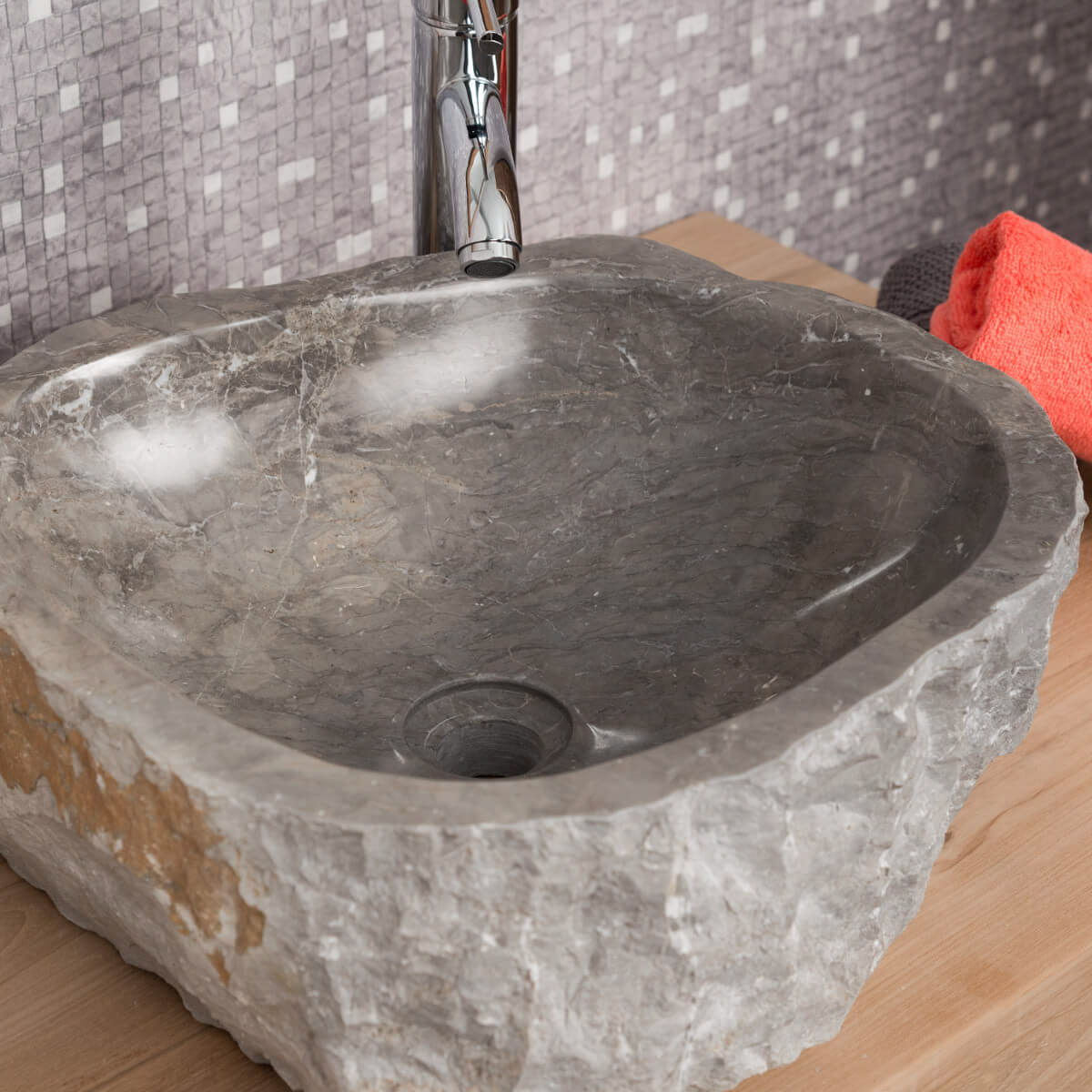 vasque poser en marbre roc rectangle grise l 35 40 cm. Black Bedroom Furniture Sets. Home Design Ideas