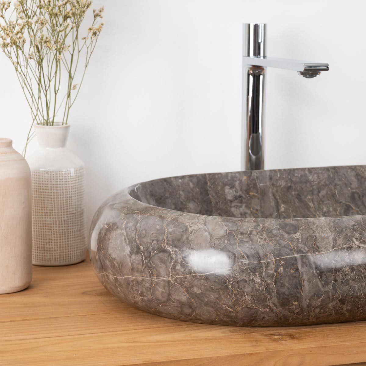 Vasque poser en marbre murano rectangle grise l 60 cm for Meuble 60x40