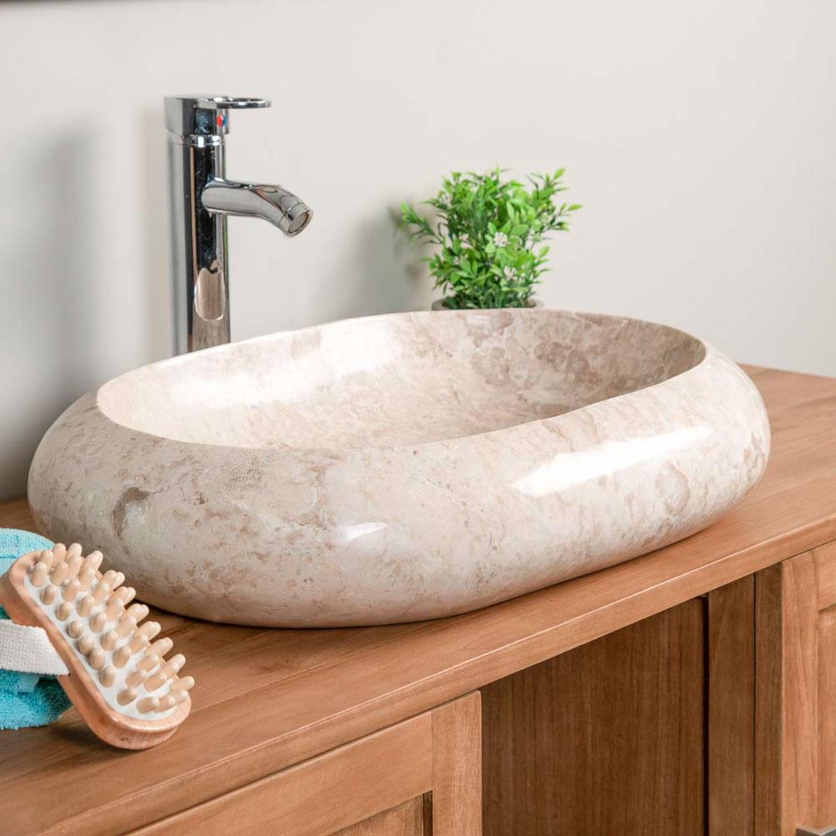 Vasque poser en marbre murano rectangle cr me l 60 cm - Grande vasque a poser ...