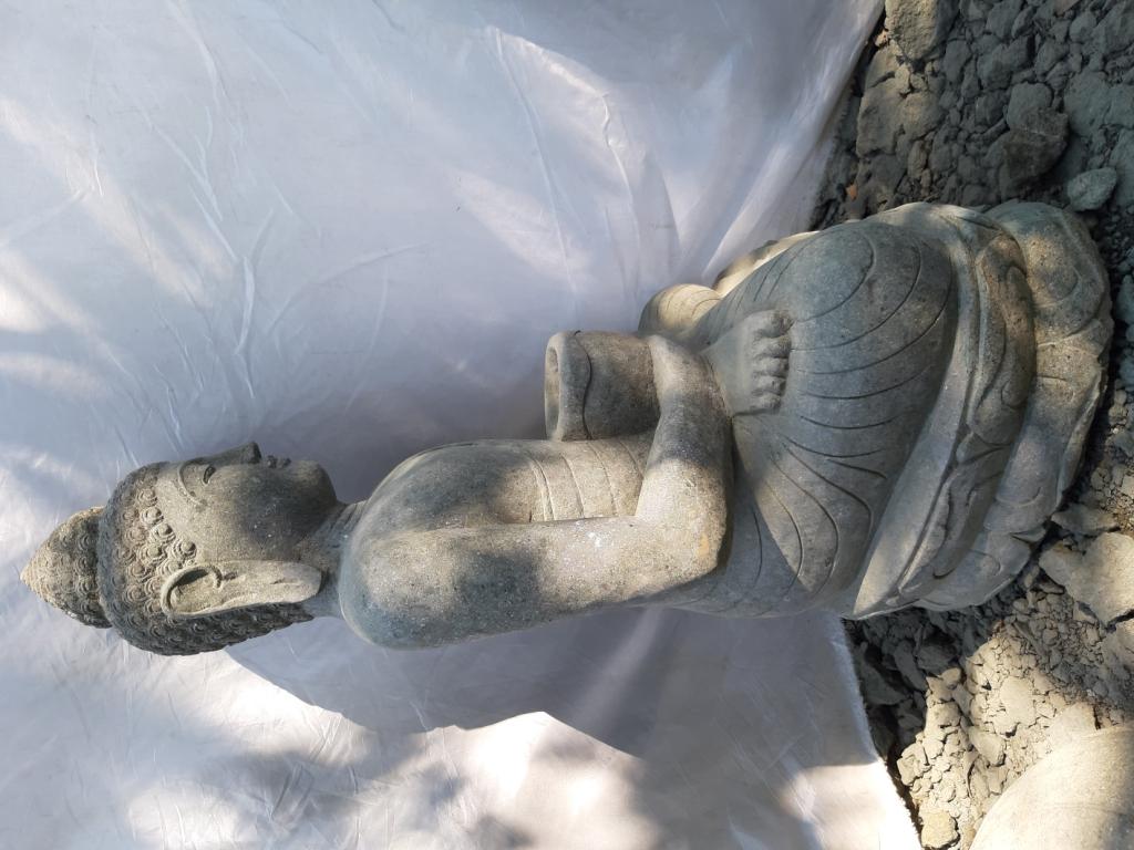 Jardin zen statue ext rieur bouddha assis bol 100cm for Decoration exterieur bouddha