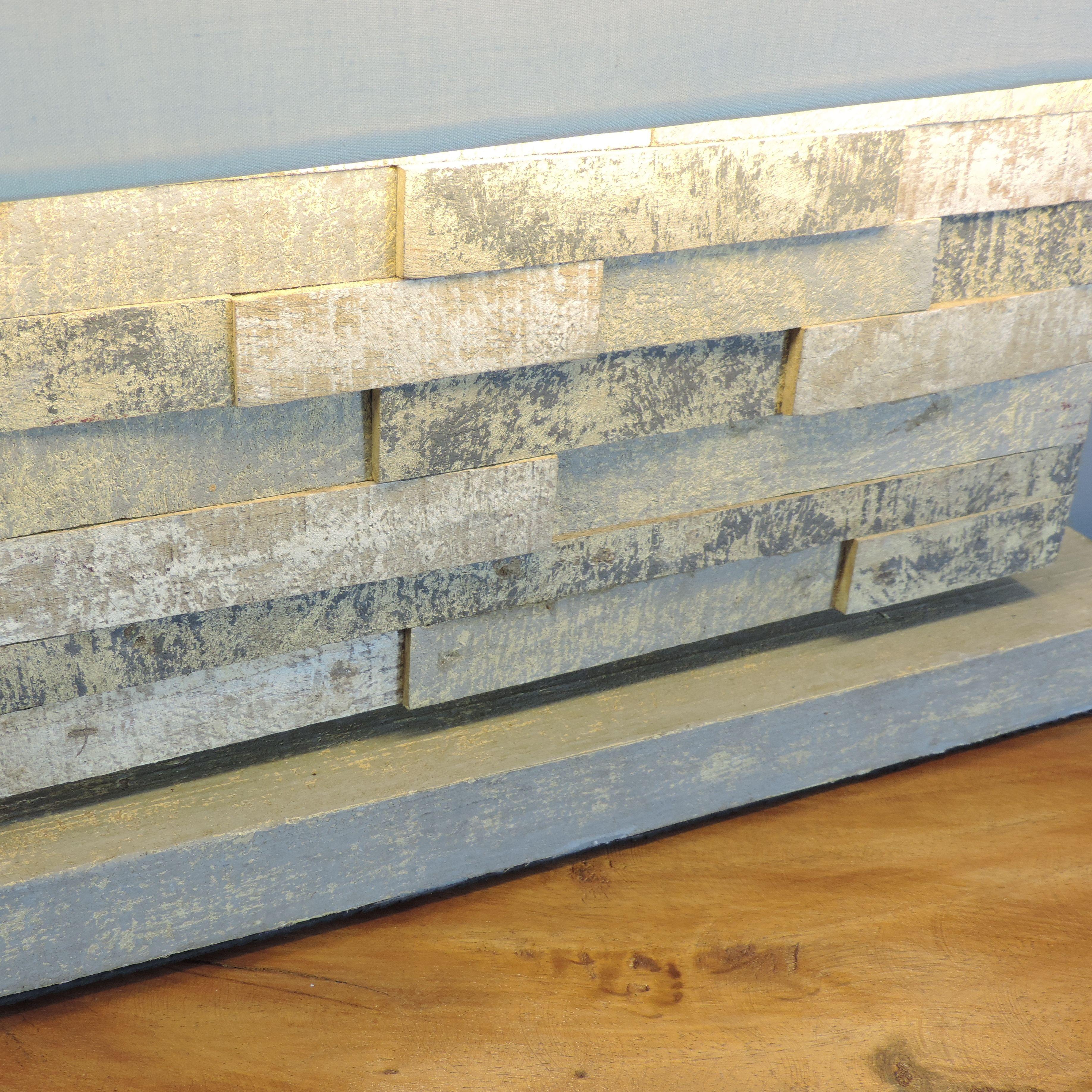 lampe poser en bois patin charme rectangulaire gris l 50 cm. Black Bedroom Furniture Sets. Home Design Ideas