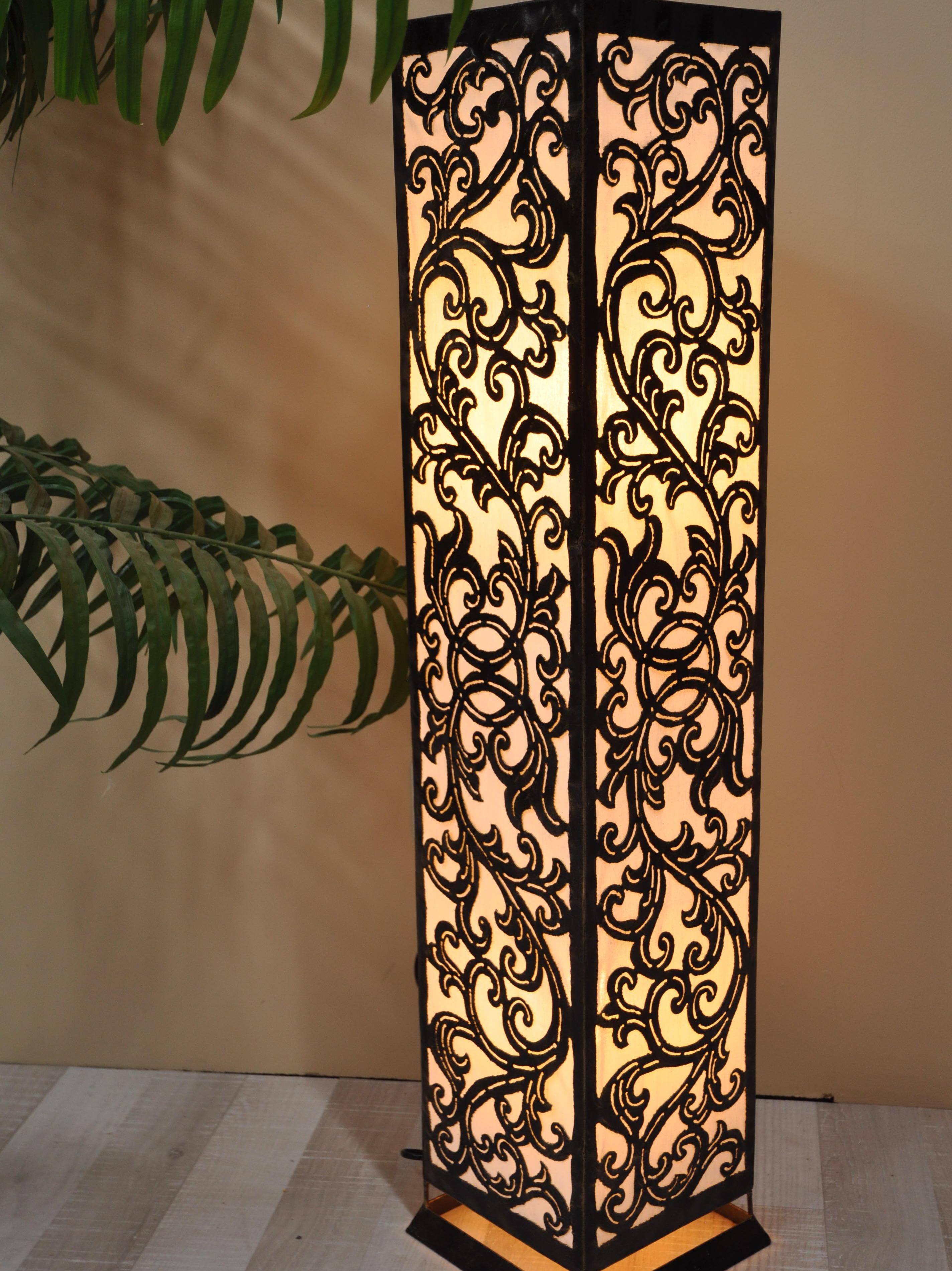 lampe de sol carr e arabesque en acier blanc 1m. Black Bedroom Furniture Sets. Home Design Ideas