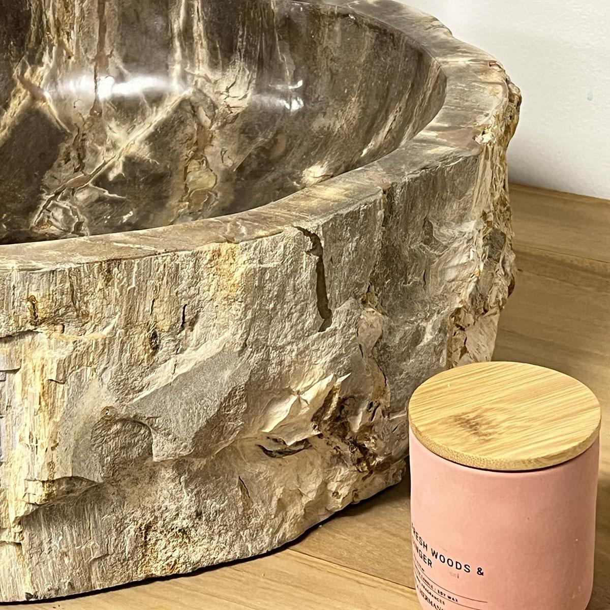 Lavabo de salle de bain en bois pétrifié fossilisé : beige, l : 40 cm