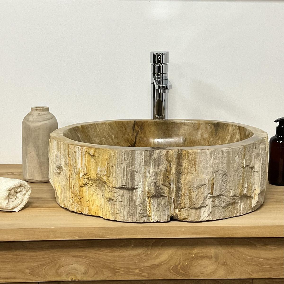 Lavabo de salle de bain en bois p trifi fossilis for Lavabo de salle de bain