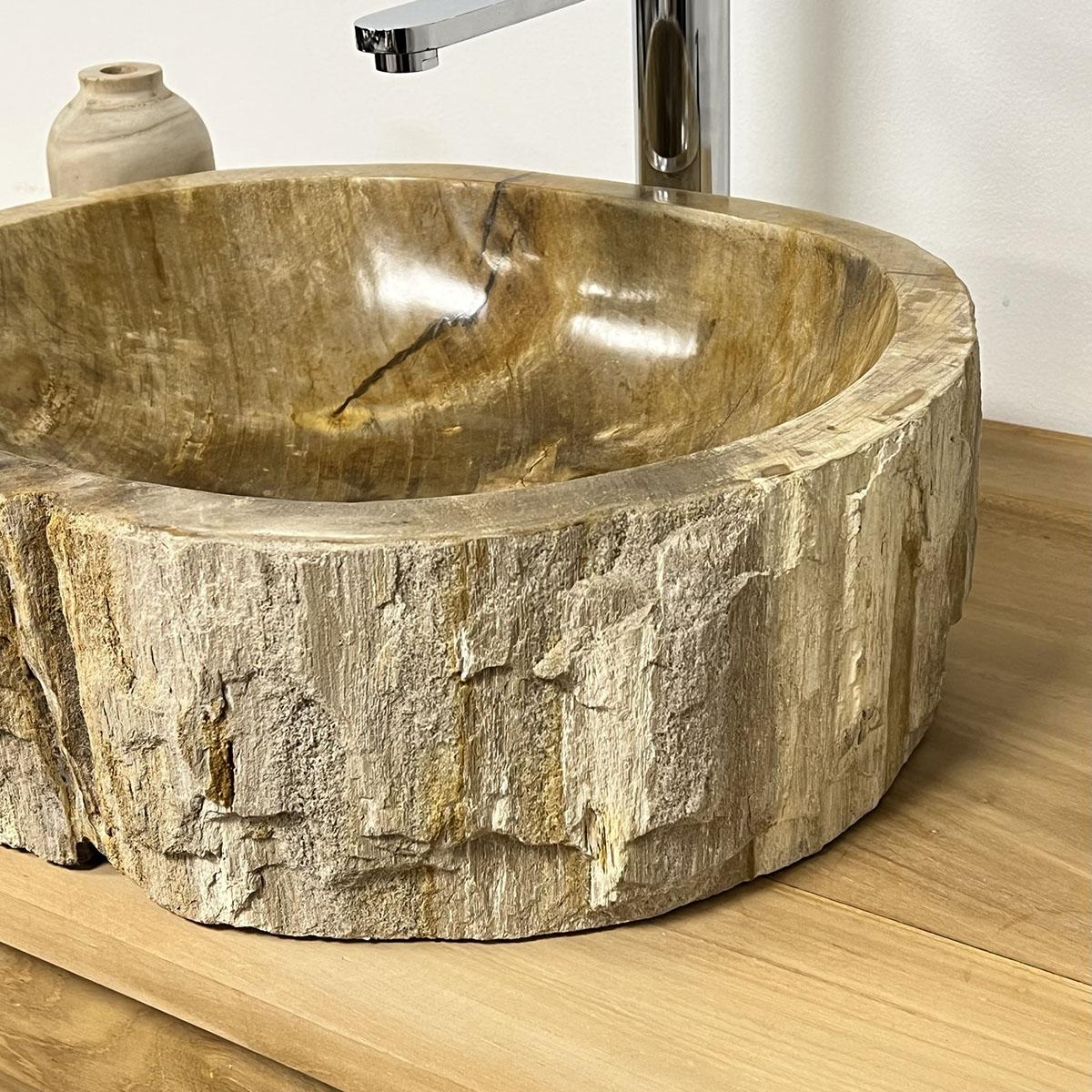 Lavabo de salle de bain en bois pétrifié fossilisé : marron, l : 41 cm
