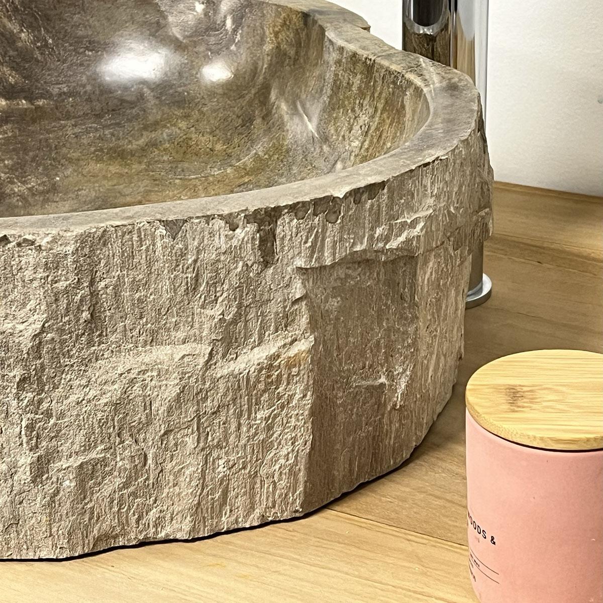 Double vasques de salle de bain en bois pétrifié fossilisé ...