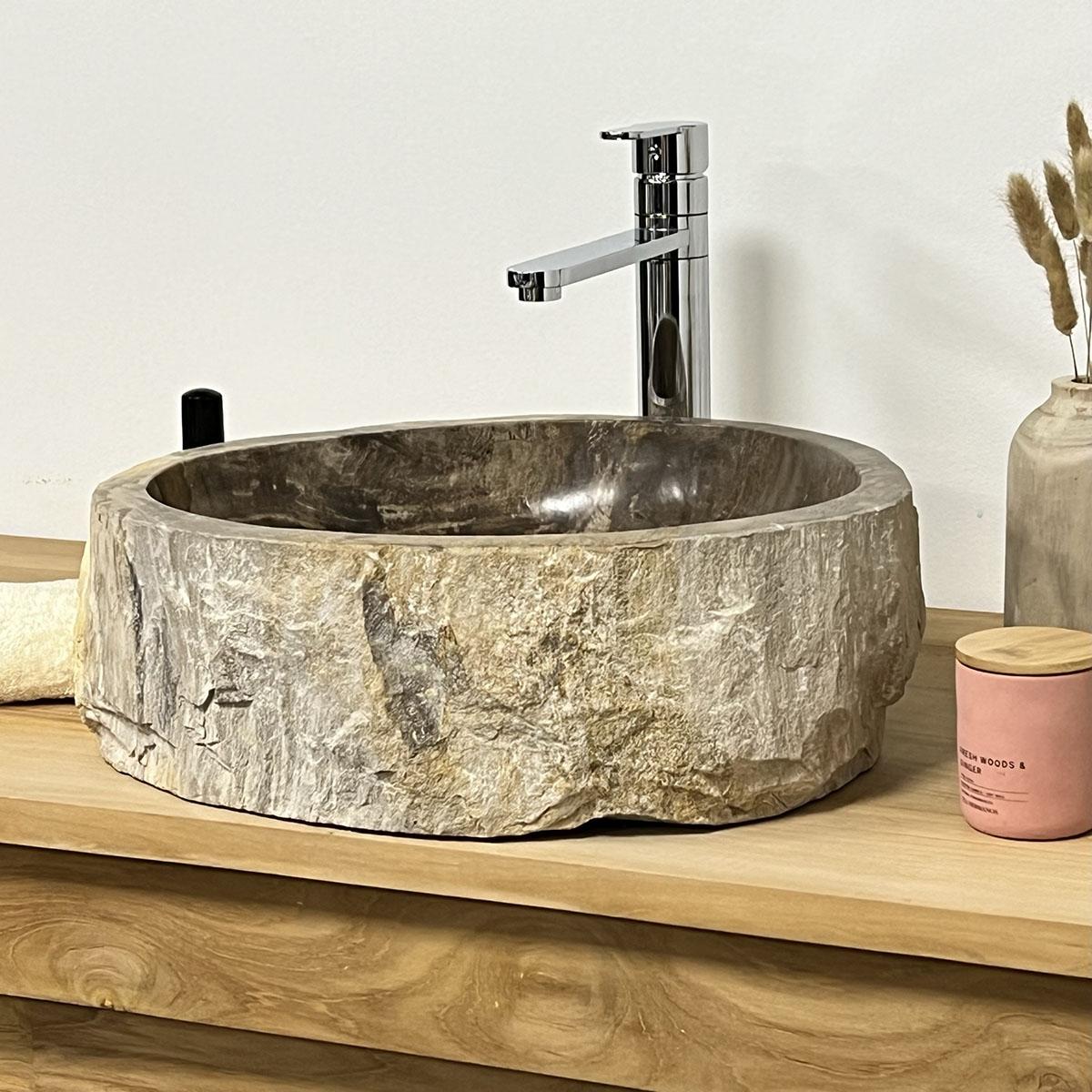 Lavabo de salle de bain en bois p trifi fossilis noir for Lavabo noir salle de bain