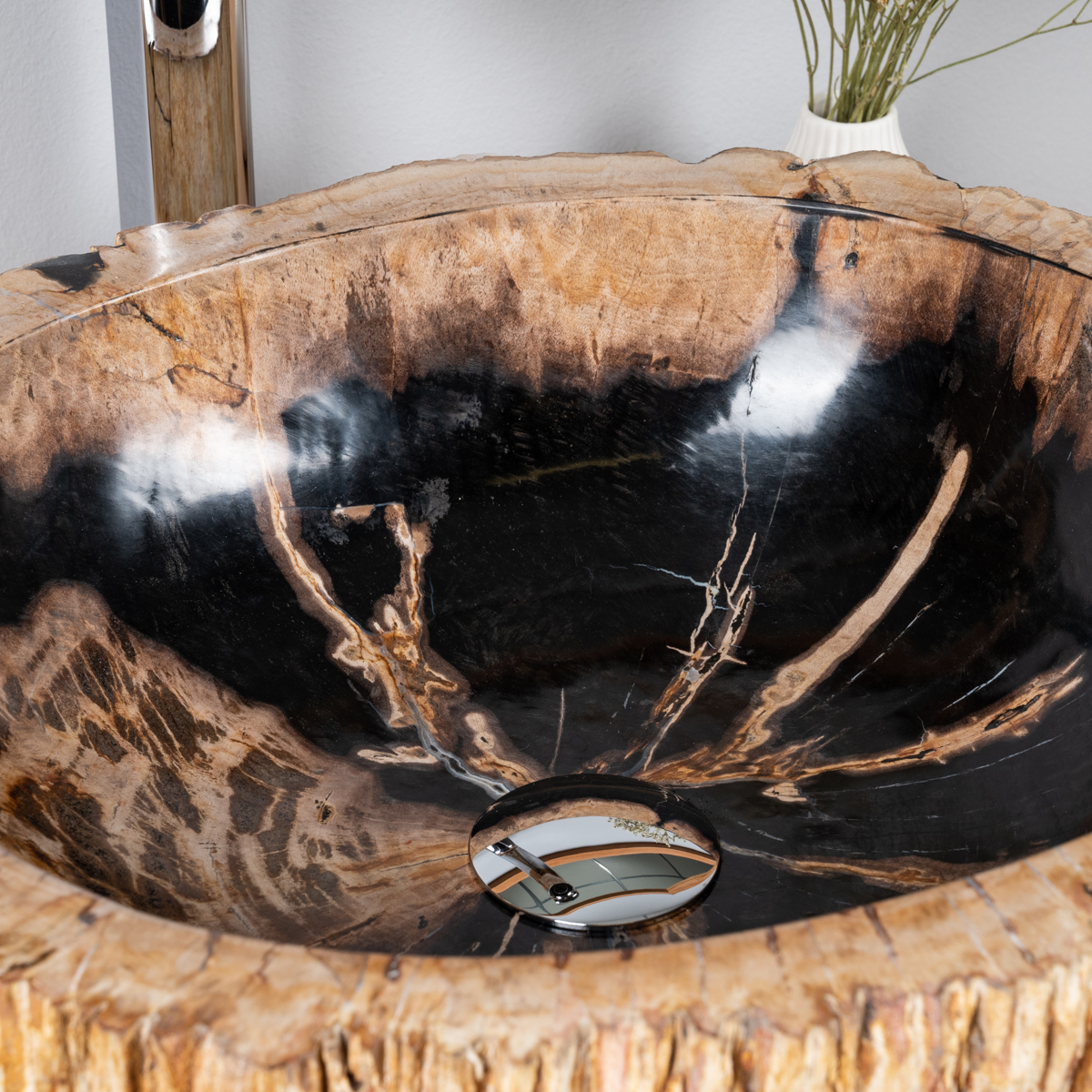 lavabo de salle de bain en bois p trifi fossilis noir 42 cm. Black Bedroom Furniture Sets. Home Design Ideas