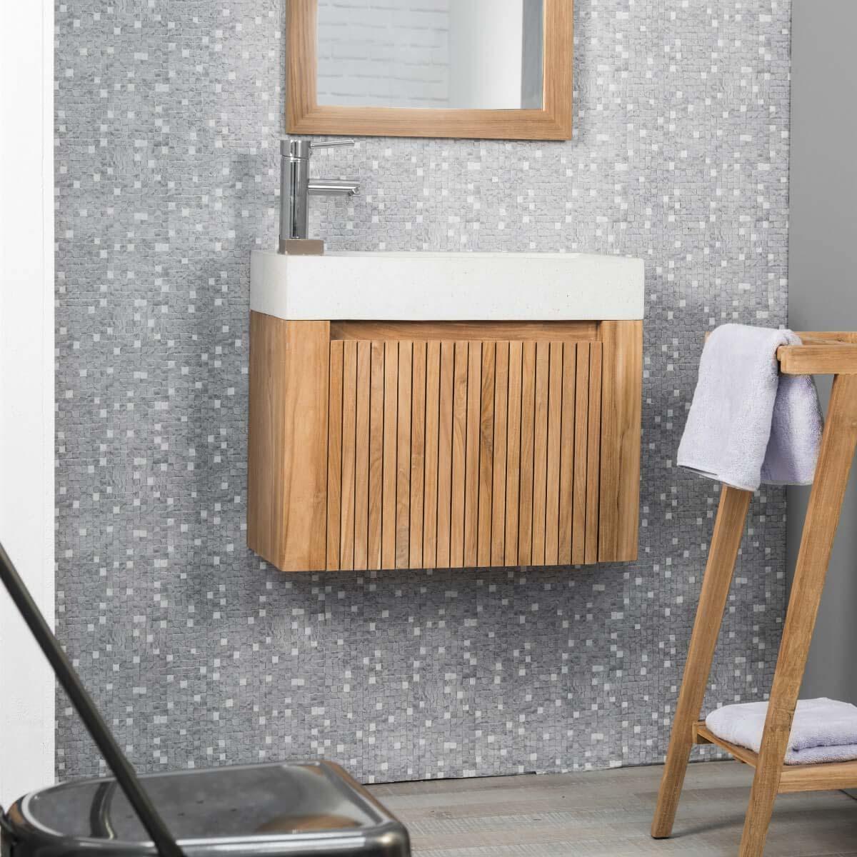 Meuble sous vasque simple vasque suspendu en bois teck for Meuble salle de bain suspendu blanc