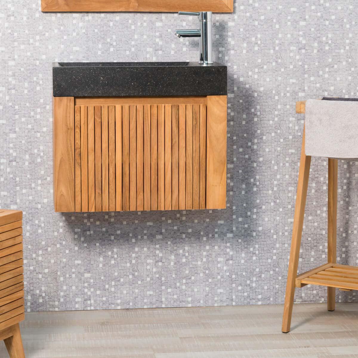 Meuble salle de bain bois pas cher : mobilier salle de bain