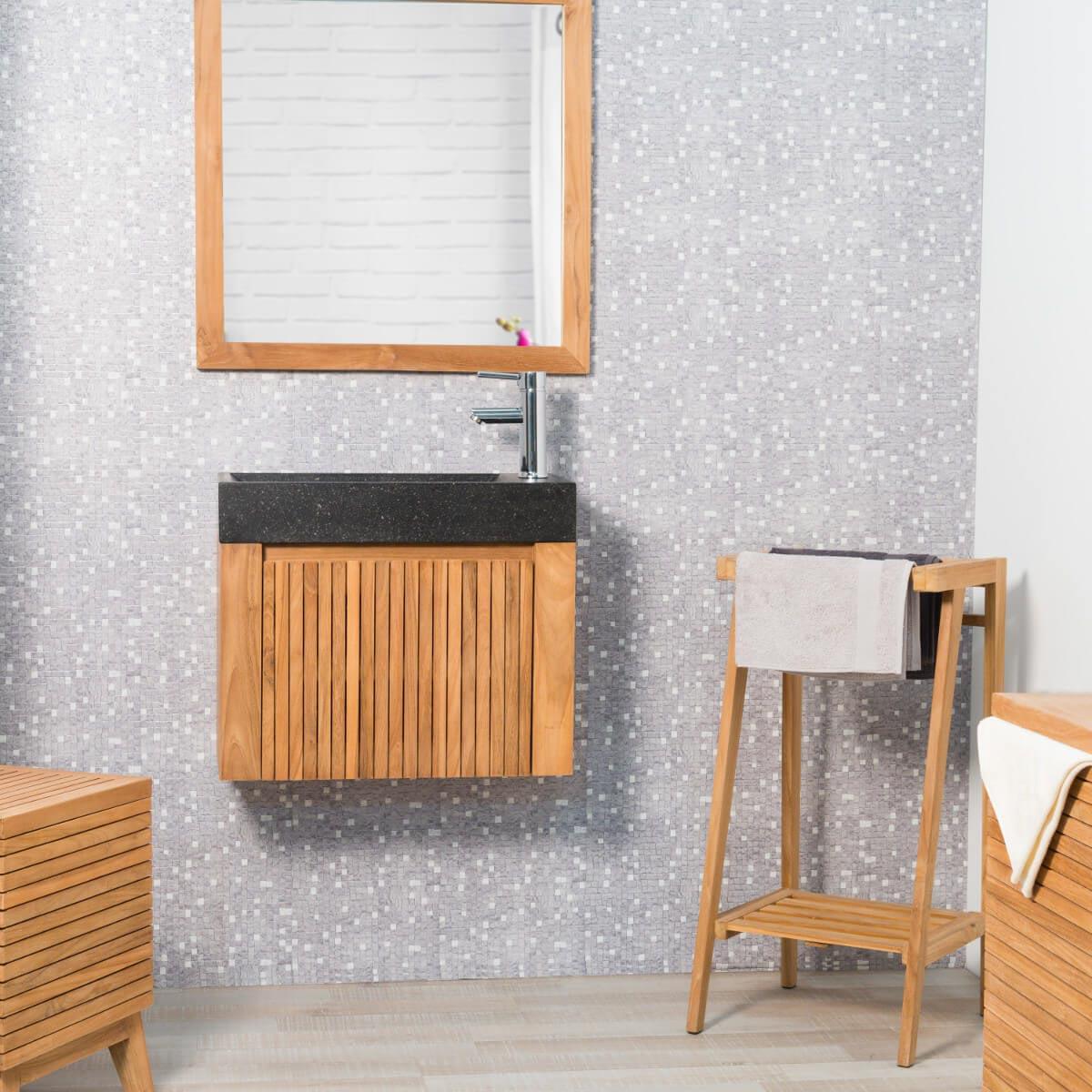Meuble sous vasque simple vasque suspendu en bois teck for Meuble suspendu noir