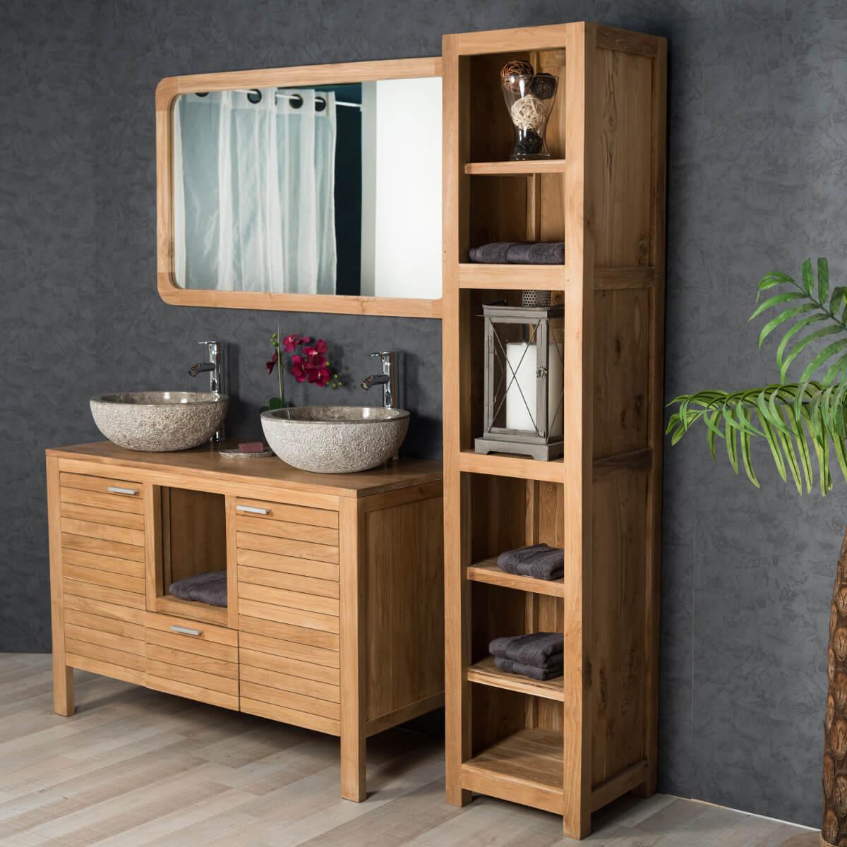 meuble tag res en bois teck massif l 190 cm. Black Bedroom Furniture Sets. Home Design Ideas