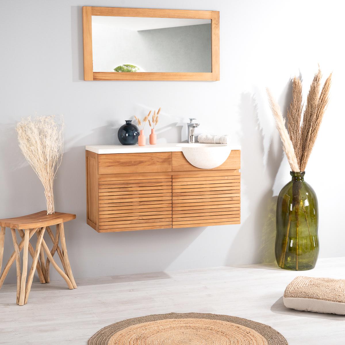 meuble sous vasque simple vasque suspendu en bois teck massif vasque en pierre naturelle. Black Bedroom Furniture Sets. Home Design Ideas
