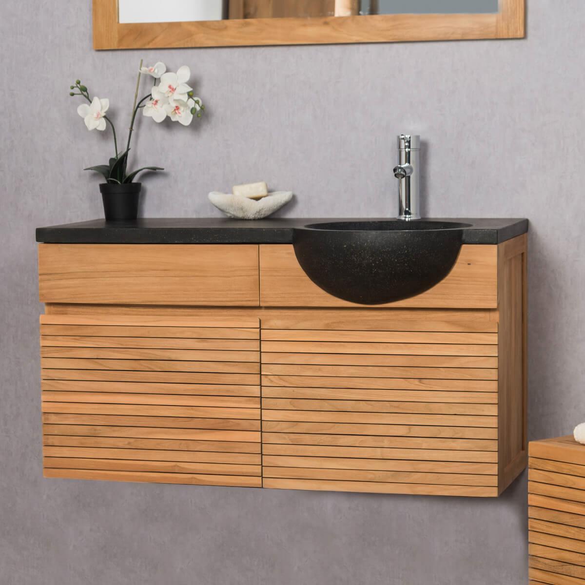 Salle de bain bois et pierre - Meuble vasque bois massif ...
