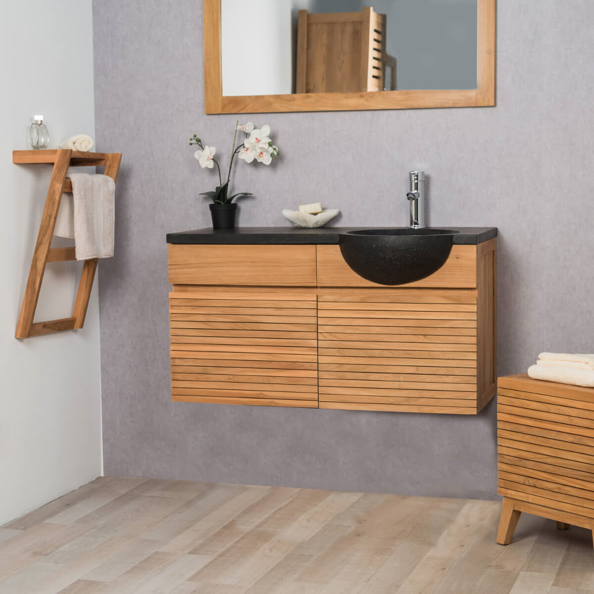 Meuble sous vasque simple vasque suspendu en bois teck for Meuble de salle de bain simple vasque