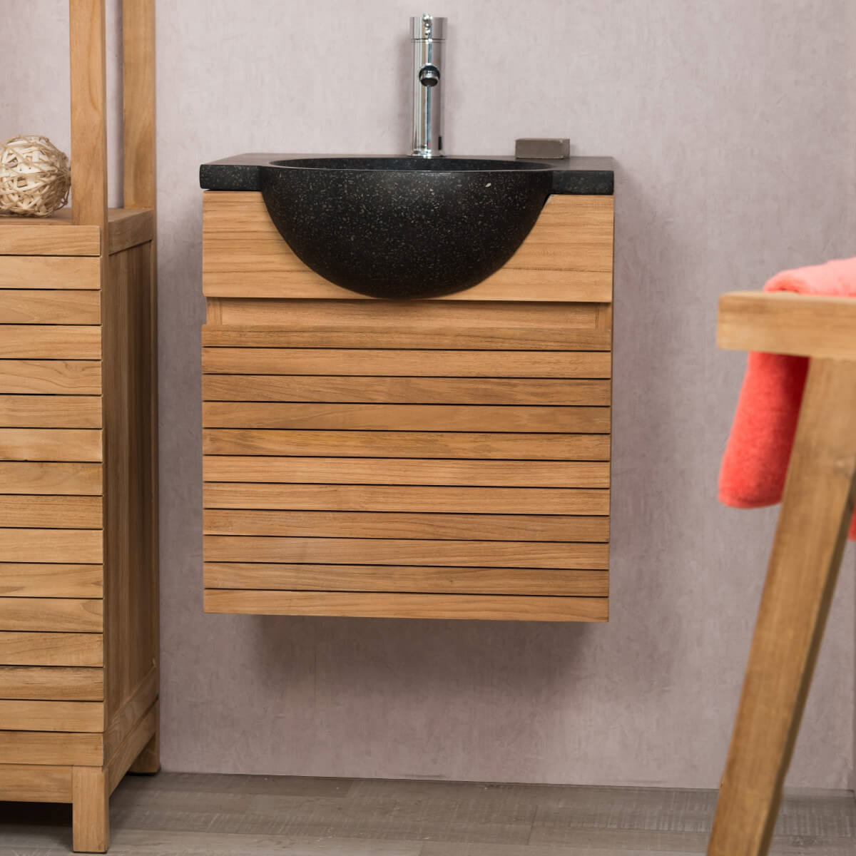 Meuble avec vasque de salle de bain en teck 50 contemporain for Meuble salle de bain teck suspendu