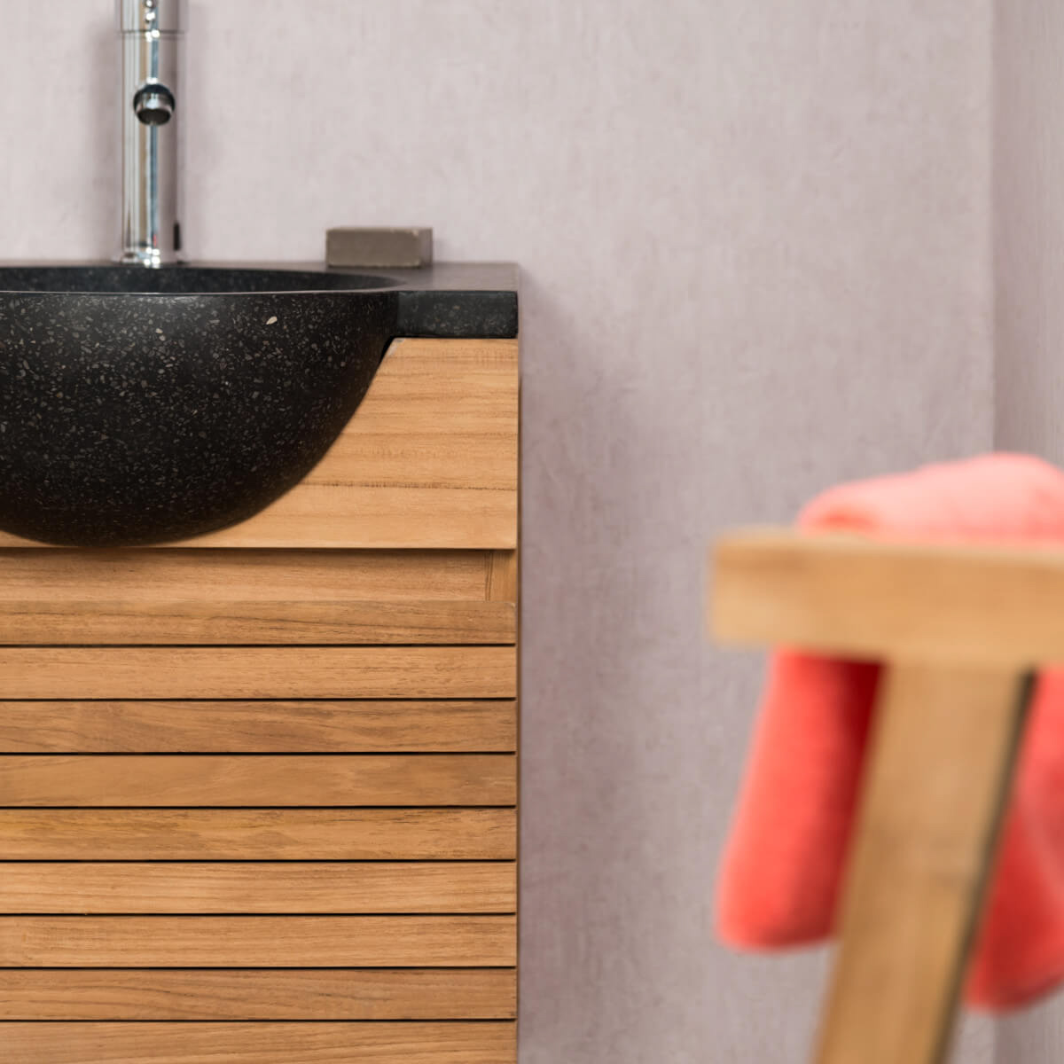 Meuble sous vasque simple vasque en bois teck massif contemporain rect - Meuble de salle de bain en solde ...