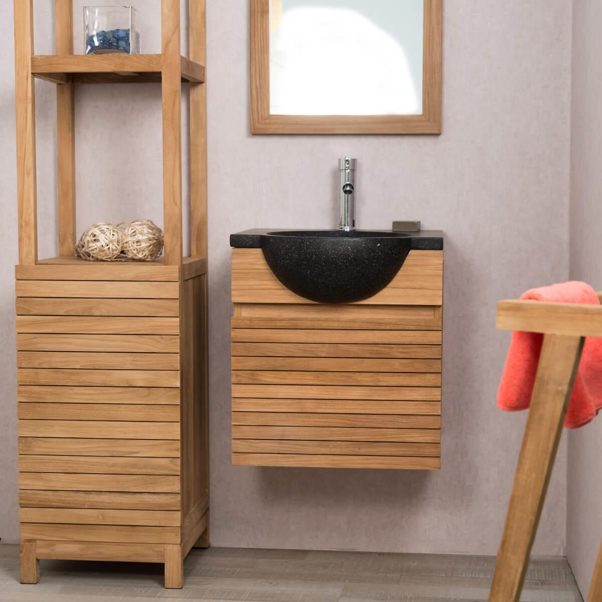 Meuble sous vasque simple vasque en bois teck massif for Meuble salle de bain contemporain