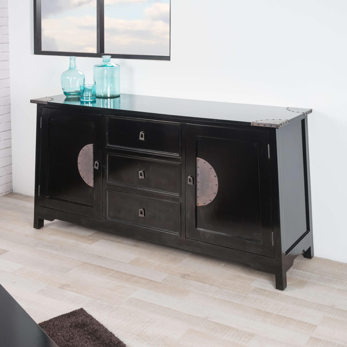 Buffet de salon en bois d 39 acajou massif thao rectangle for Buffet noir