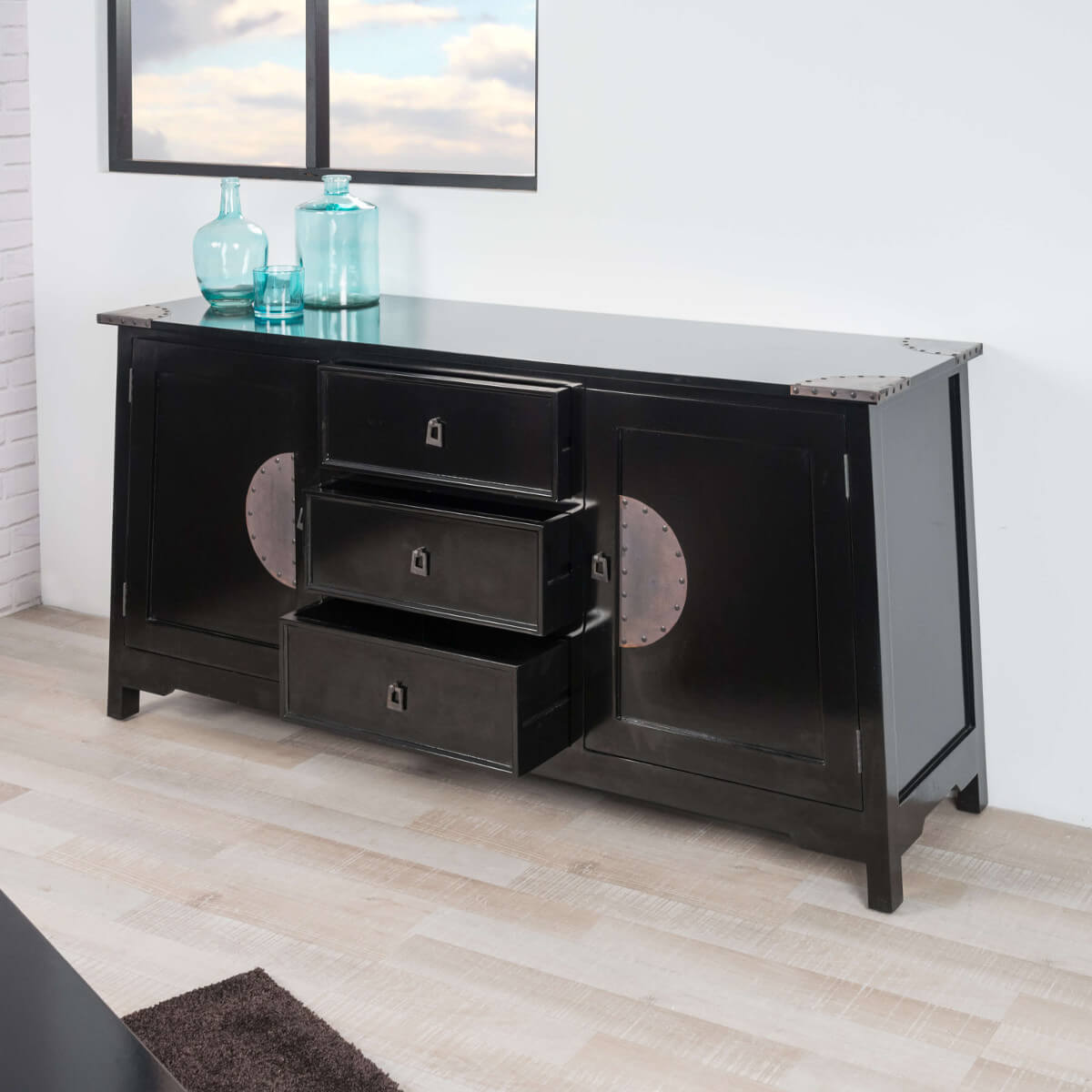 Buffet de salon en bois d 39 acajou massif thao rectangle for Meuble salon noir
