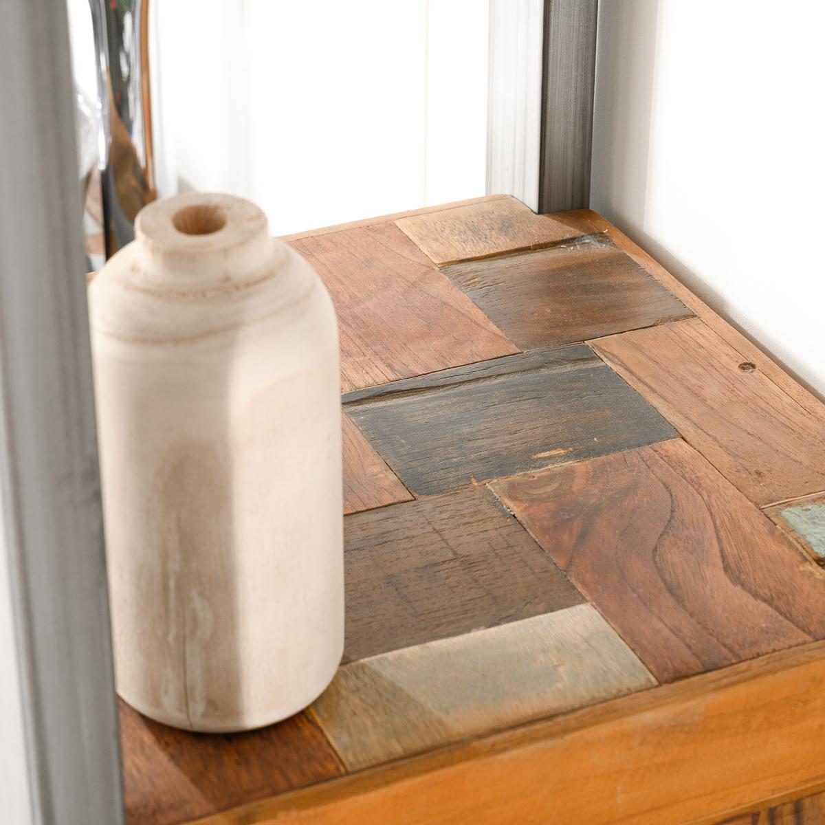 colonne de rangement en bois teck massif m tal factory naturel l 190 cm. Black Bedroom Furniture Sets. Home Design Ideas