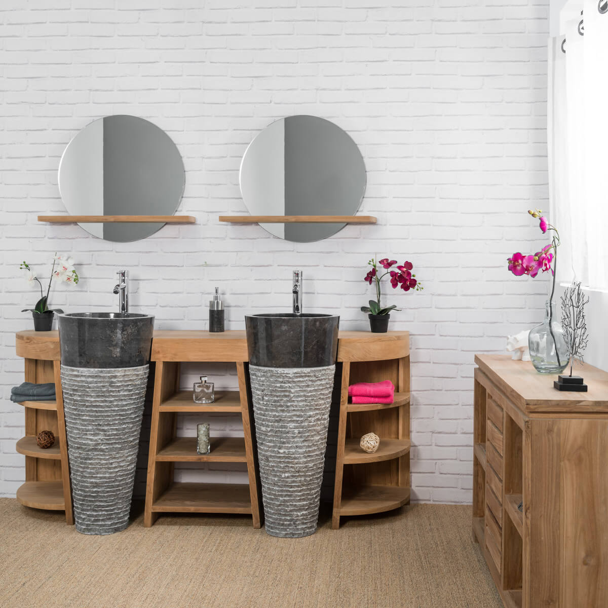 commode de salle de bain en bois de teck massif nature rectangle naturel l 120 cm. Black Bedroom Furniture Sets. Home Design Ideas