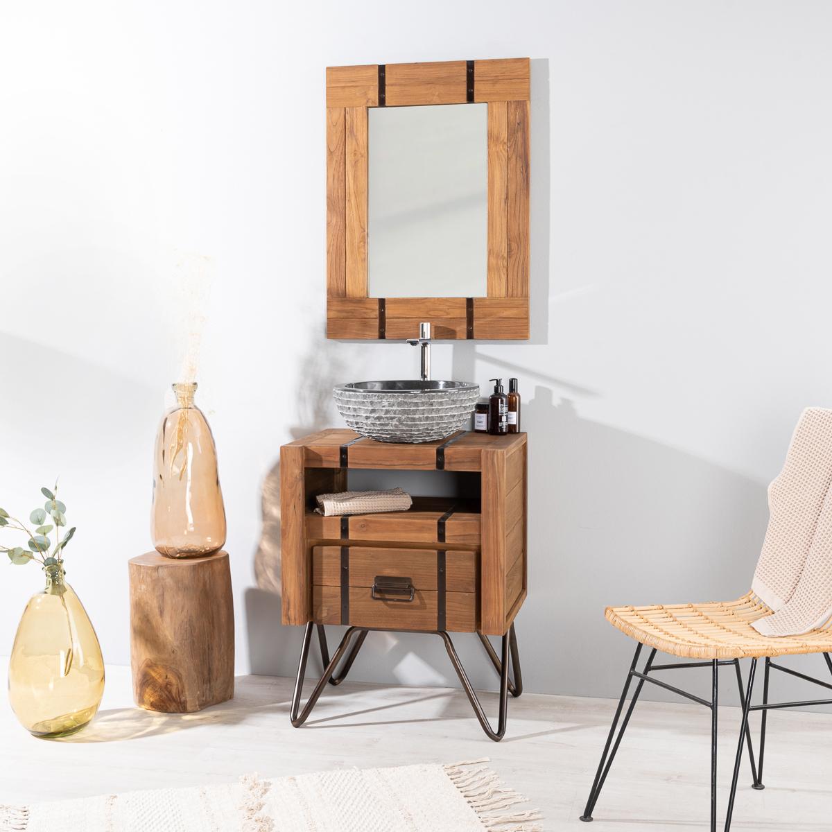 meuble sous vasque simple vasque en bois mindi massif et m tal loft rectangle naturel l. Black Bedroom Furniture Sets. Home Design Ideas