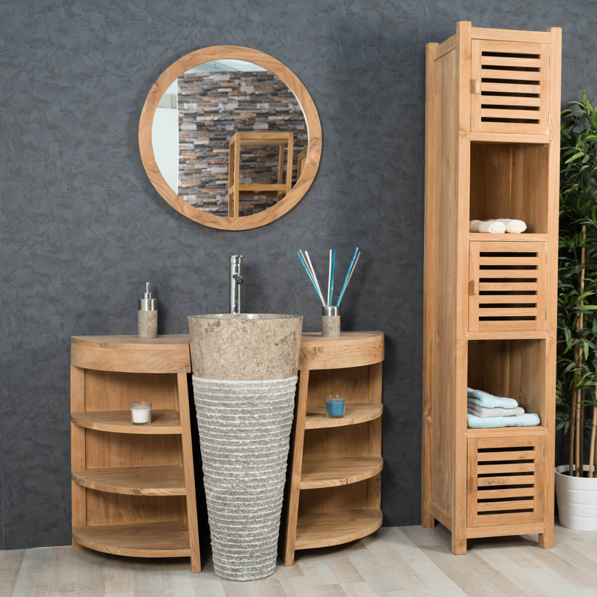 meuble sous vasque simple vasque en bois teck massif. Black Bedroom Furniture Sets. Home Design Ideas