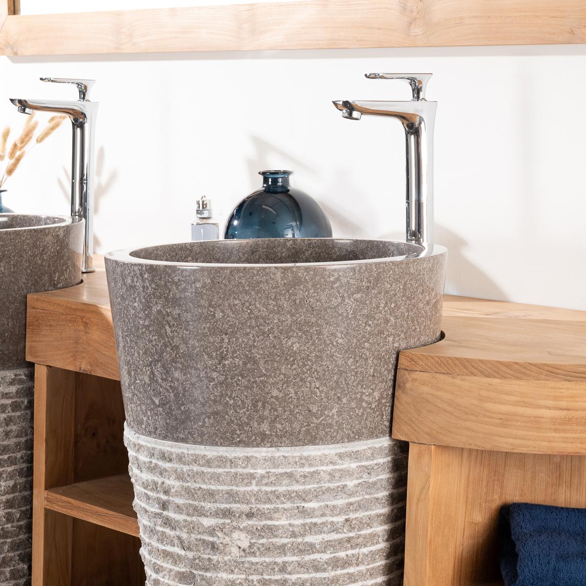 Meuble sous vasque (double vasque) en bois (teck) massif   vasques ...