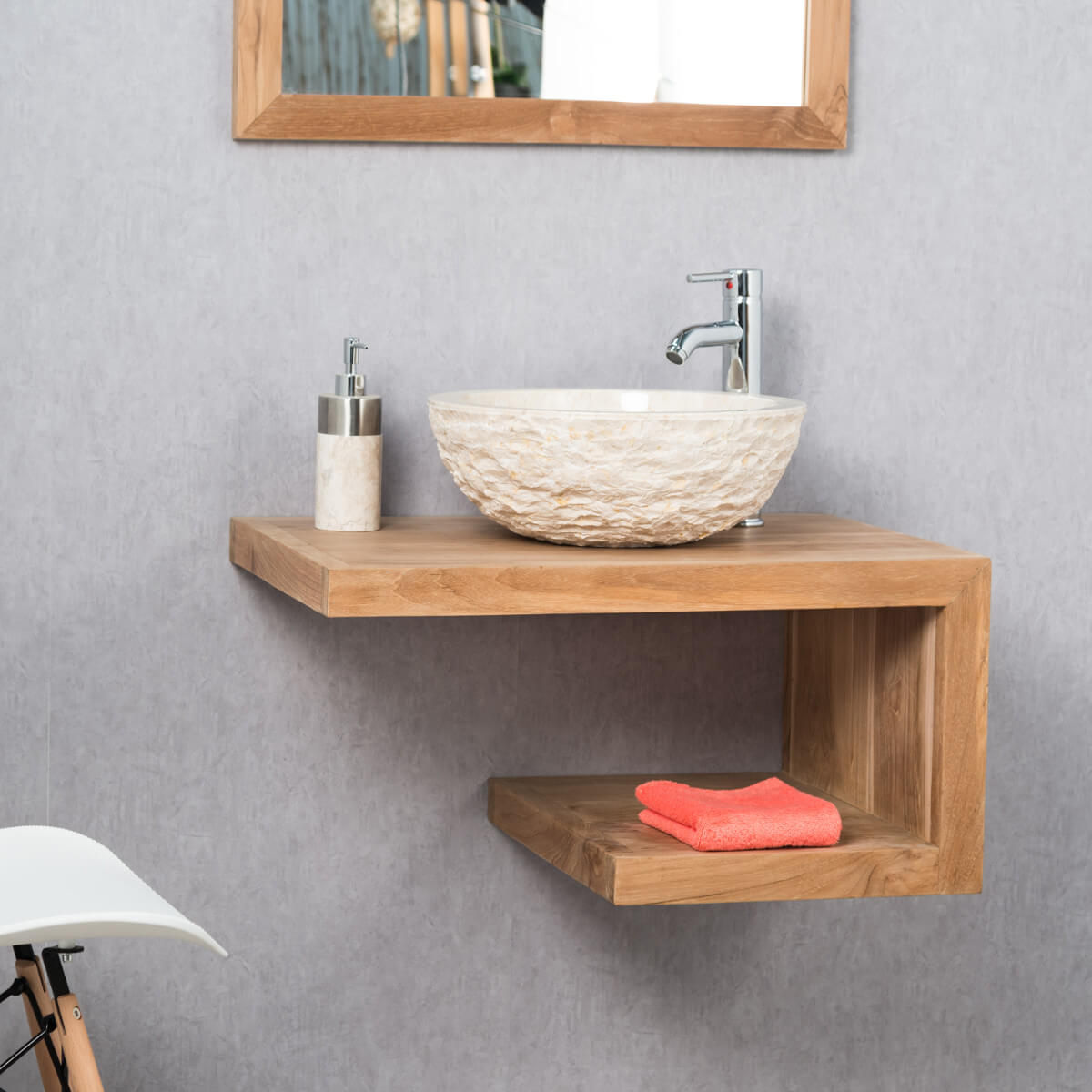 Meuble sous vasque simple vasque en bois teck massif for Meuble salle de bain teck suspendu