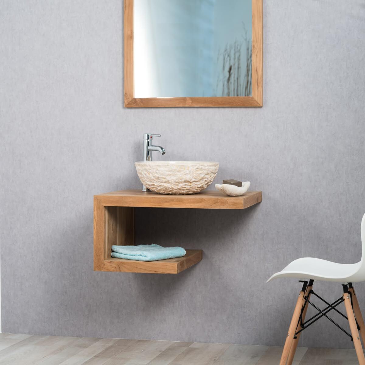 Meuble sous vasque (simple vasque) en bois (teck) massif : pure ...
