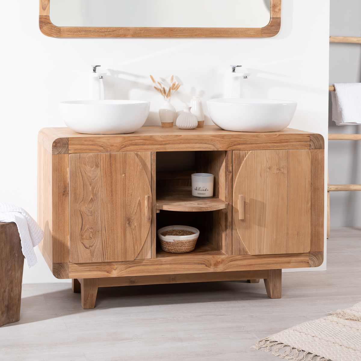 Meuble Sous Vasque Double Vasque En Bois Teck Massif R Tro Rectangle Naturel L 120 Cm
