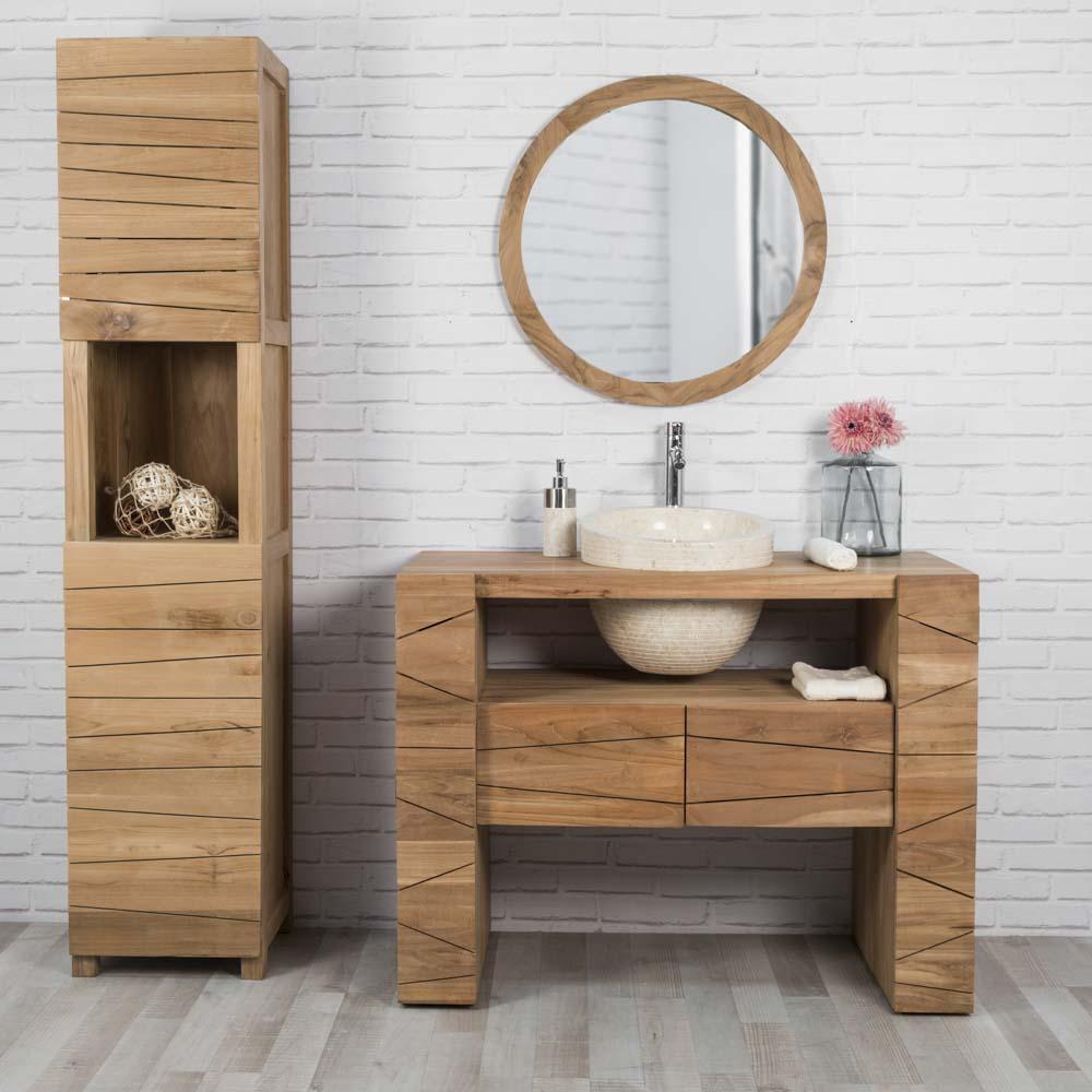 Meuble sous vasque simple vasque en bois teck massif vasque en marbre s r nit naturel - Commode transformee en meuble salle de bain ...