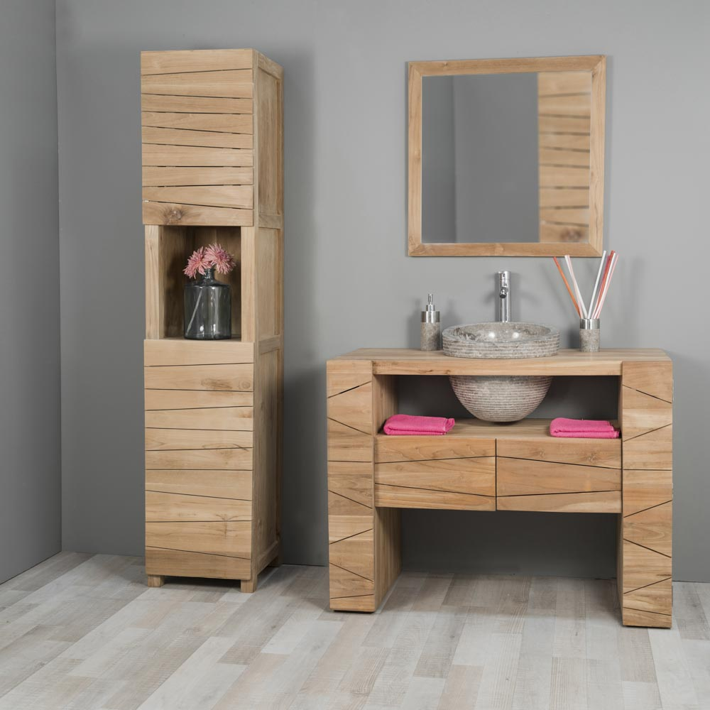 Meuble sous vasque simple vasque en bois teck massif vasque en marbre s r nit naturel - Meuble sdb simple vasque ...
