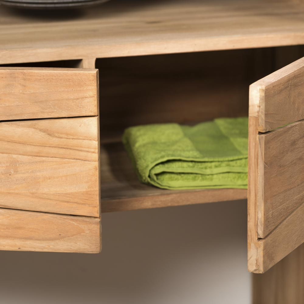 Meuble sous vasque (simple vasque) en bois (teck) massif + vasque ...