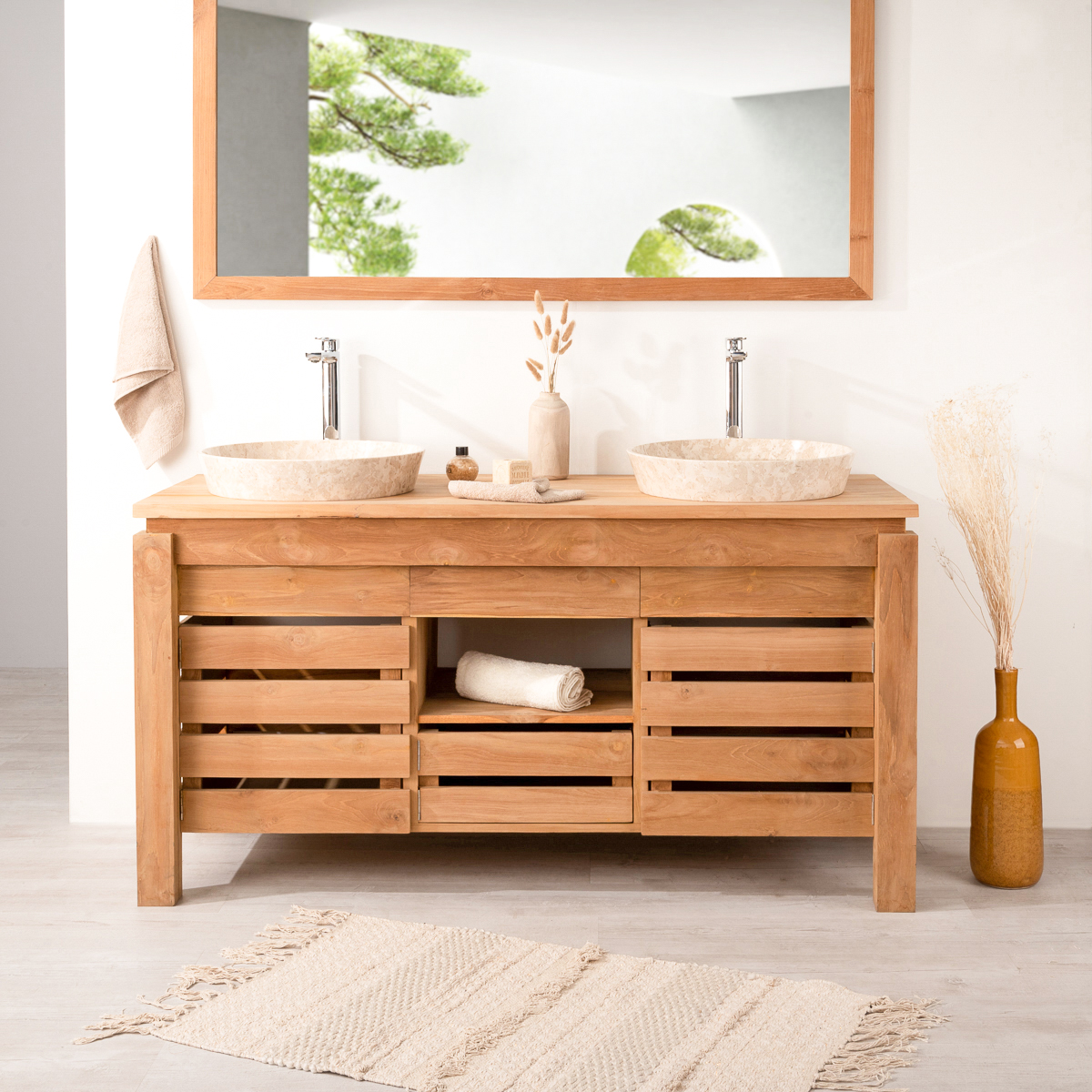 Meuble sous vasque double vasque en bois teck massif zen rectangle na - Direct salle de bain ...
