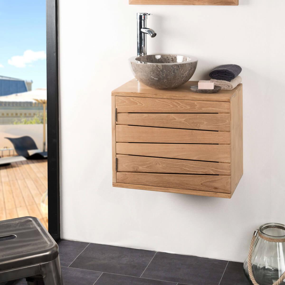 Meuble sous vasque simple vasque suspendu en bois teck massif cosy nat - Meuble de salle de bain suspendu ...